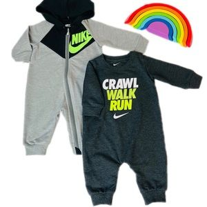 New 2 Nike Baby Graphic Print Coveralls Set 3m